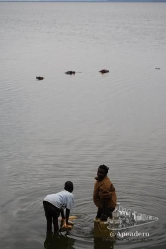 Las personas que realmente viven en África tienen una convivencia mucho más natural con el medio, para ellos la amenaza de que un hipopótamo les aplaste mientras recogen agua es real.