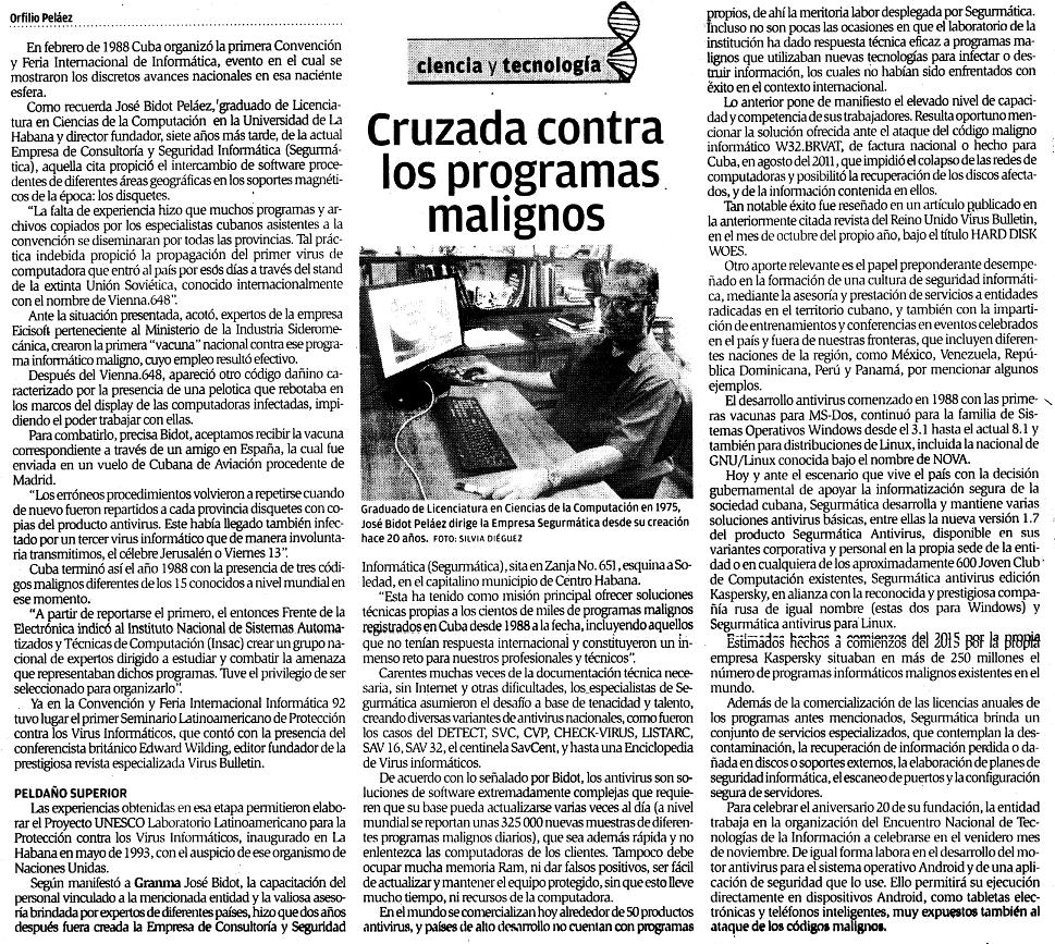 Artículo aparecido en el diario Granma el 29 de agosto de 2015.