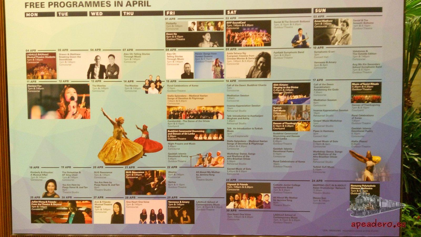 Anuncio de conciertos gratuitos en Singapur