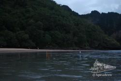 En esta foto se puede apreciar el camino iluminado que lleva a la playa del hotel Centara.
