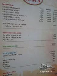 Carta del restaurante. Sí, los precios son correctos.
