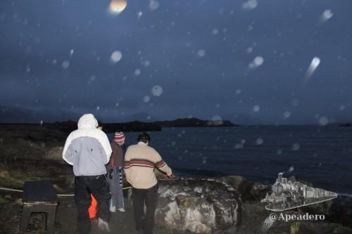 Nuestra primera exploración de la poza y nuestra decepción al encontrarla vacía, bajo una fina nevada.
