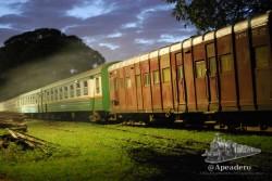 El viejo tren descansa en Mombasa esperando su turno para atravesar Tsavo Park en dirección a Nairobi