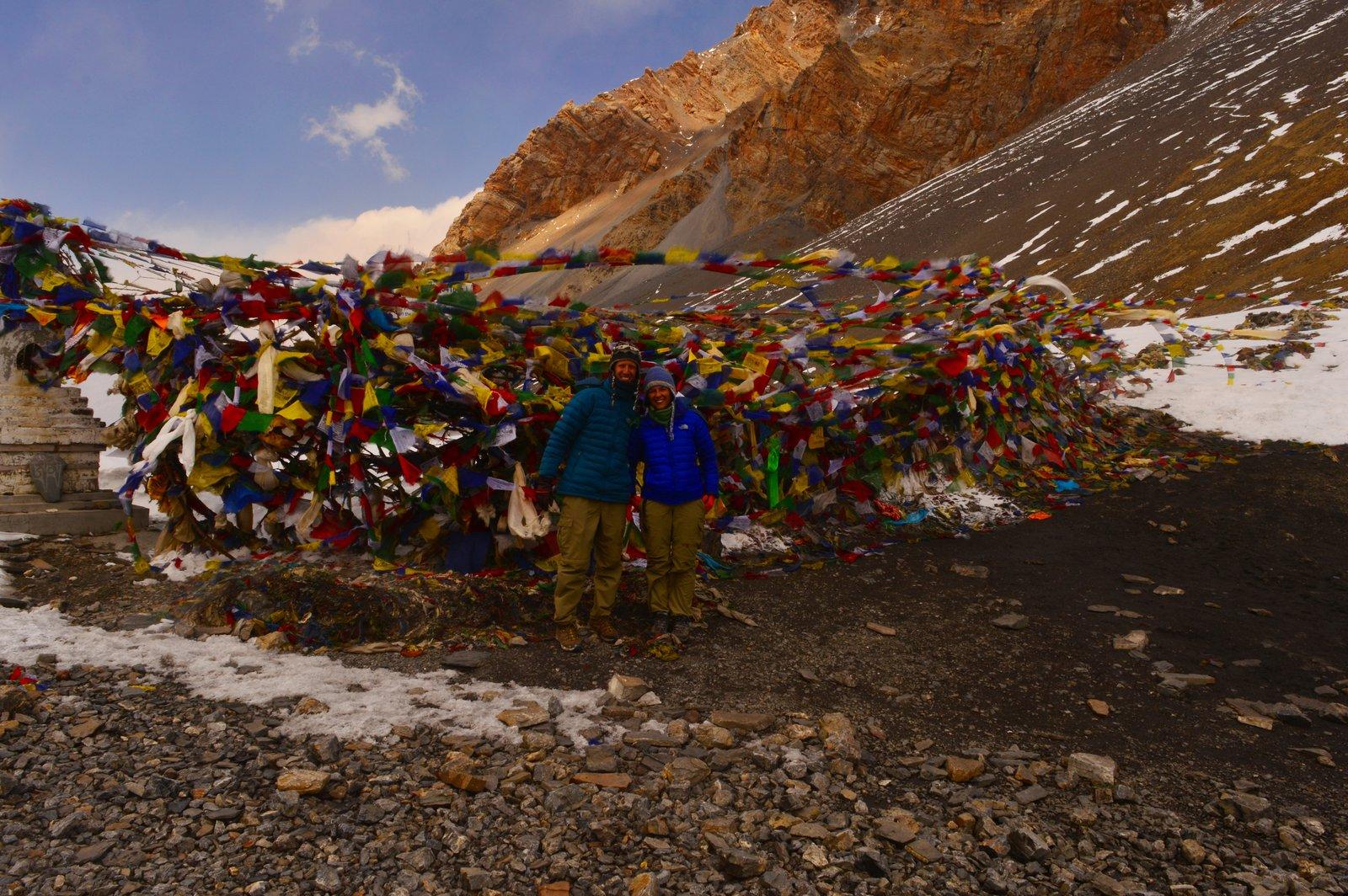 En el paso de Thorong, en el circuito de annapurna nepal.