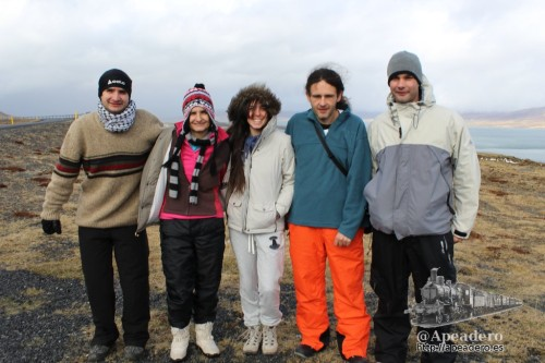 Foto de los 5 componentes de la expedición: Roman, Núria, Aida, Ivan y Jorge (de izquierda a derecha).