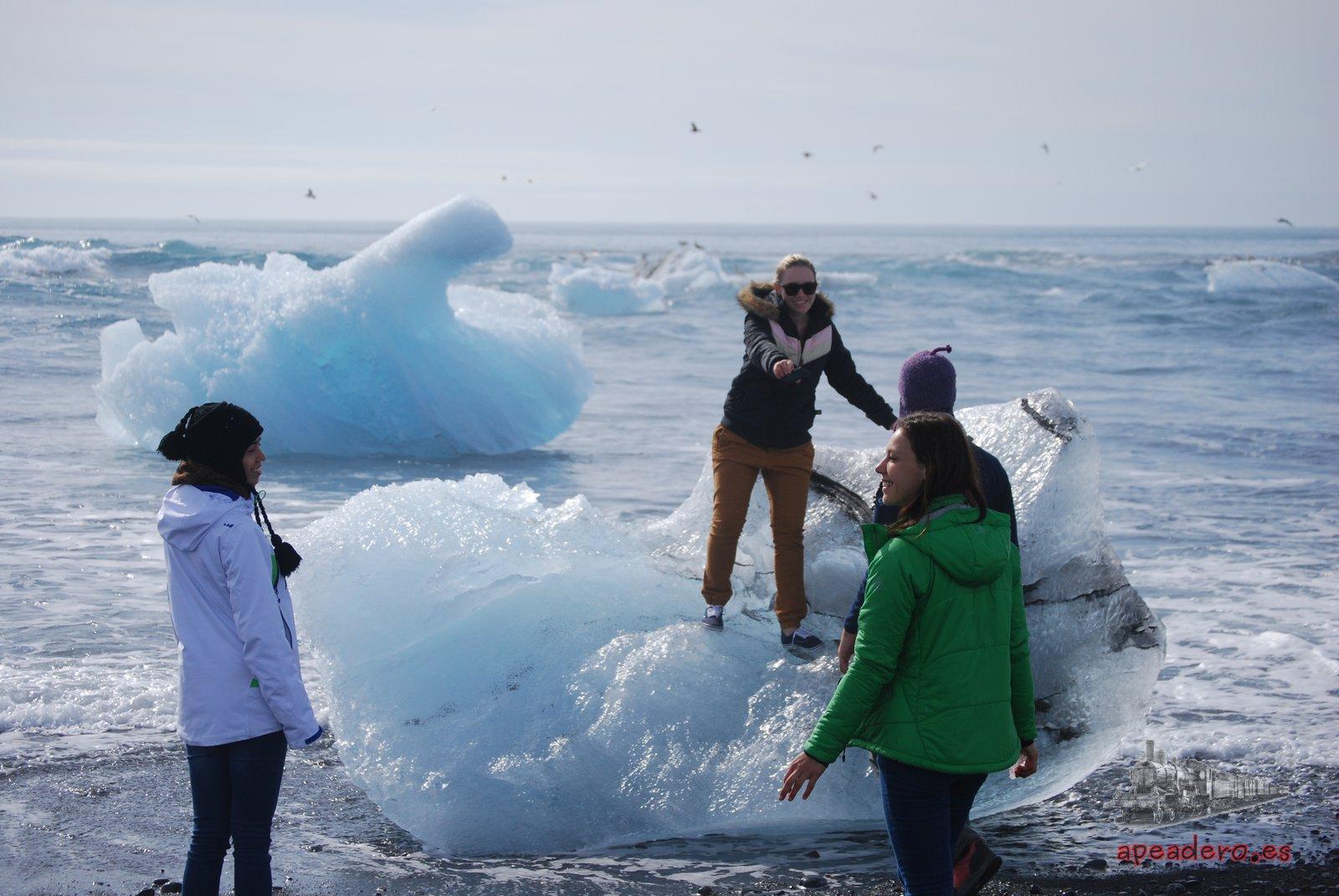 Icebergs en la playa de Islandia