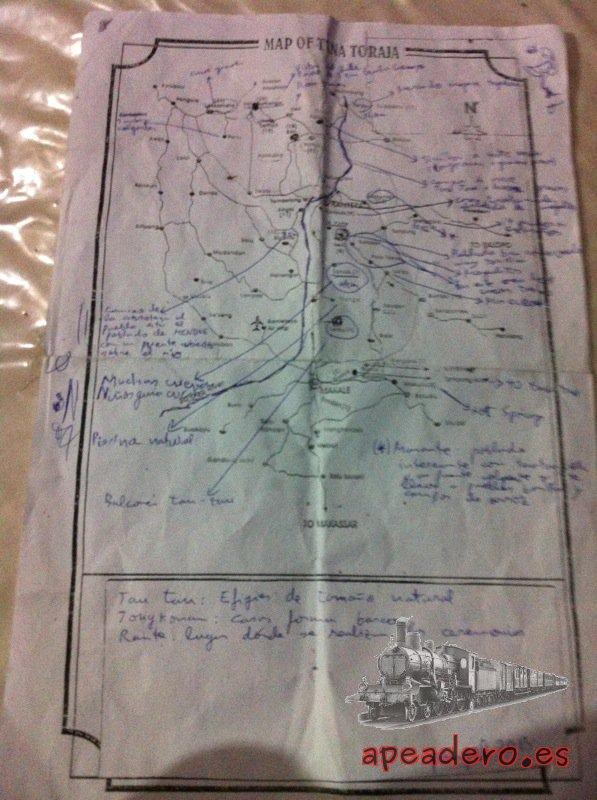 Un plano de Tana Toraja con anotaciones basadas en la Lonely Planet fue todo lo que necesitamos para recorrer la zona por libre.