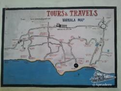 Este es el mapa de Varkala para que te hagas una idea de la ubicación. Hasta el helipad llegan los tuk-tuk, pero no pueden entrar en la calle del cliff y dejarte en la puerta del hotel.