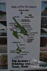 Este es el mapa de playas y hoteles. Con long-tails se puede ir a cualquier parte en pocos minutos, pero una aventura en Phi Phi vale mucho la pena.