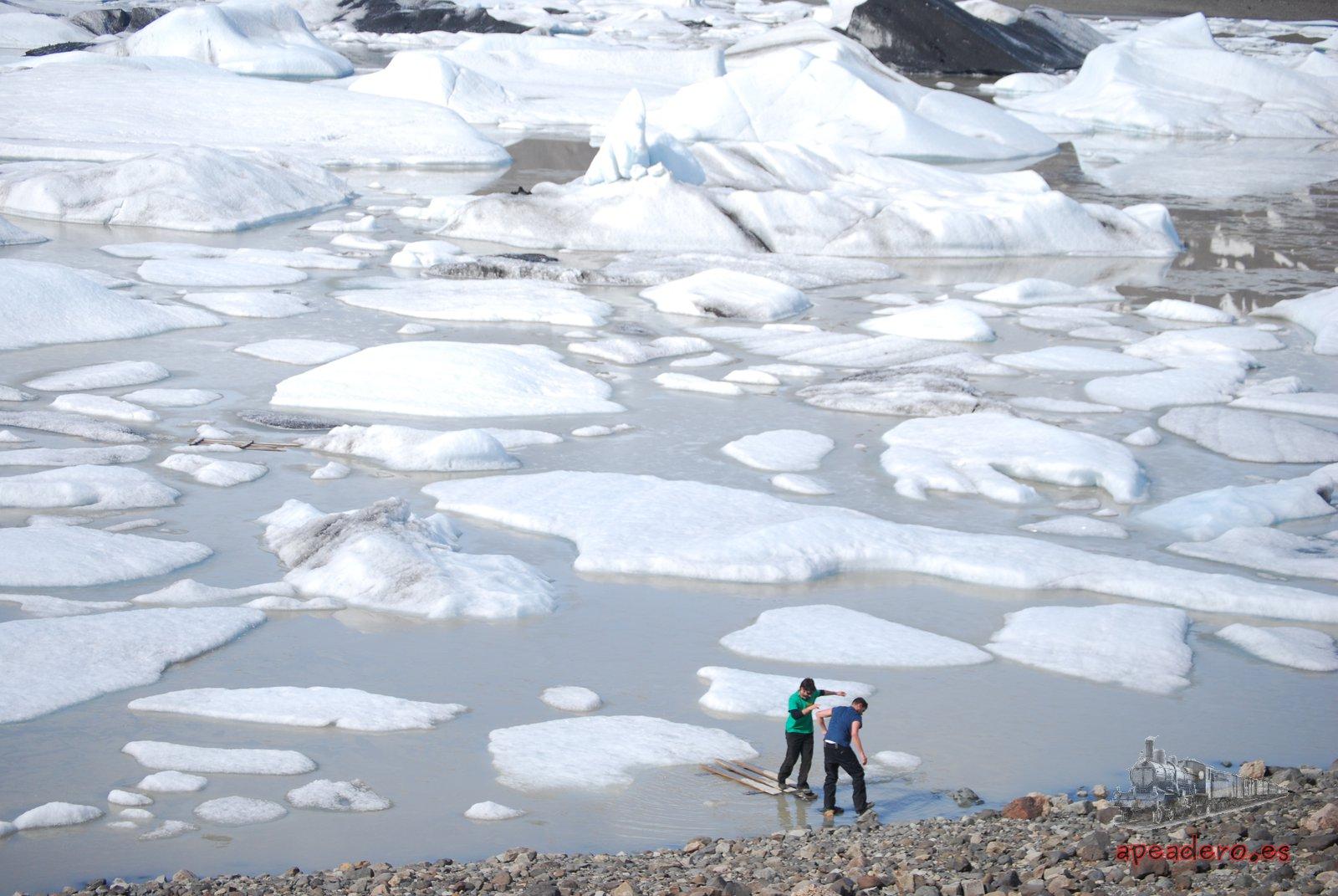 Momento del rescate. La intención era llegar a uno de esos icebergs grandes que se ven más al fondo.