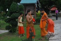 Los monjes más jóvenes son los que trabajan en el jardín, bajo la atenta mirada de los turistas.