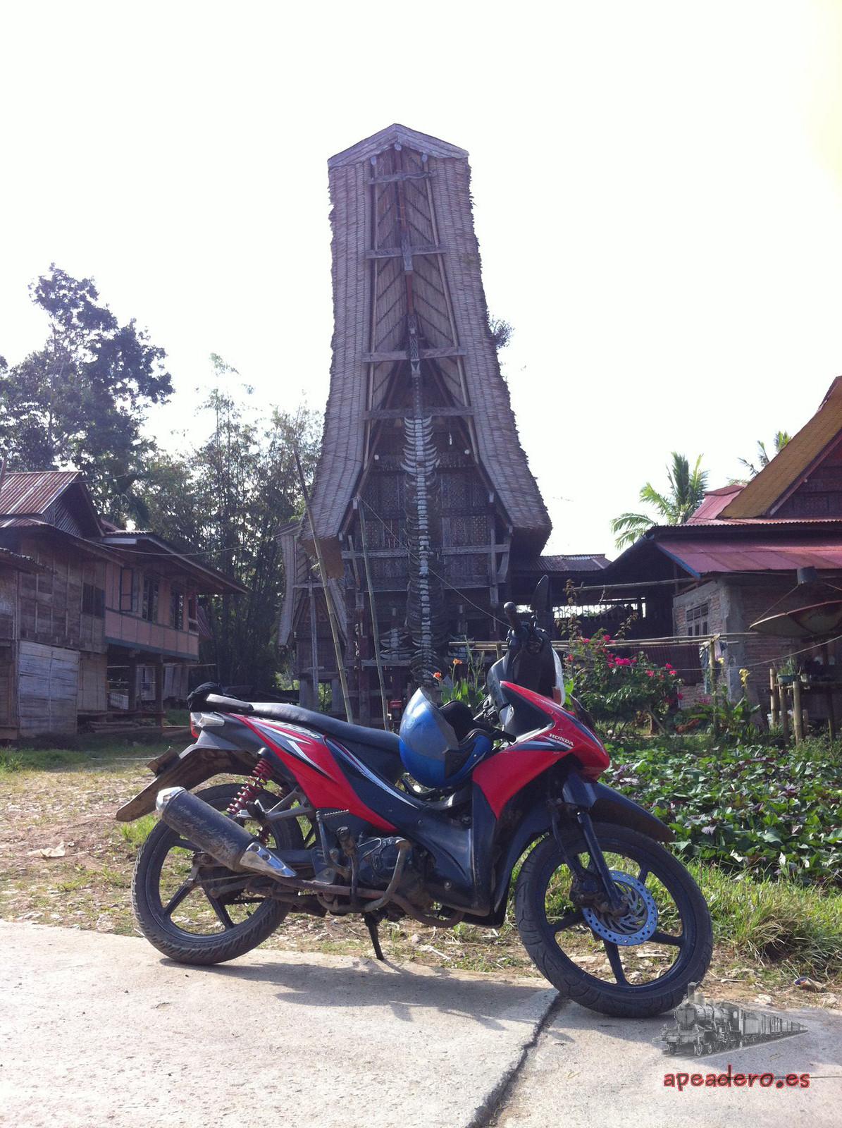 Llevar una moto de alquiler es la mejor manera de conocer la zona de Tana Toraja.
