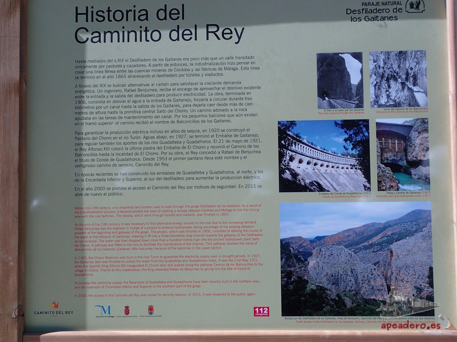 Panel de informacion en El Caminito del Rey