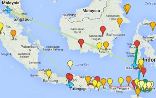 Esta es aproximadamente la que será nuestra ruta por Indonesia. Un mes para visitar el sur de Sulawesi, Flores, Lombok, Bali y el este de Java.