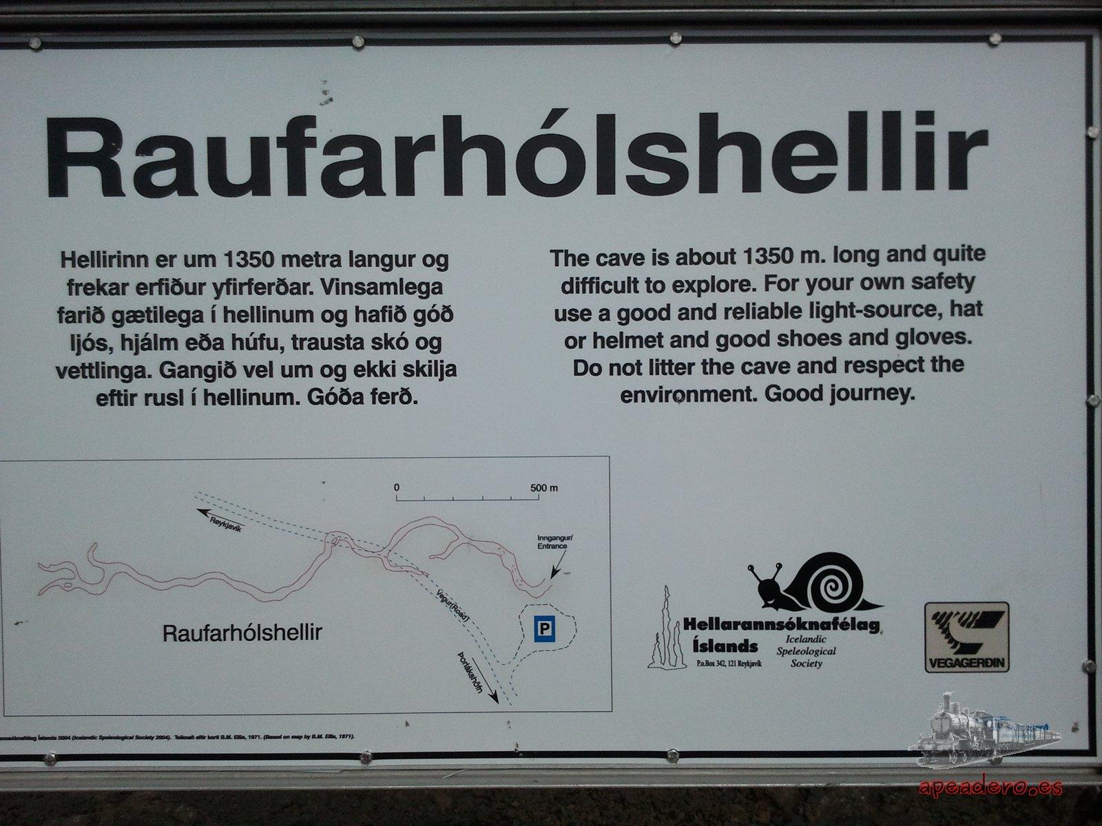Cartel a la entrada de Raufarholsherllir.