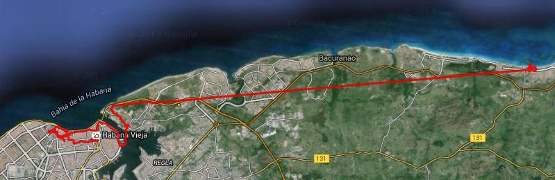 Nuestro recorrido del día 1 de agosto. Se puede apreciar la vuelta que dimos para llegar hasta la la lanchita y luego el cruce de la bahía y el recorrido hasta tomar el bus hacía las playas del este. Puedes descargar este itinerario para GPS.