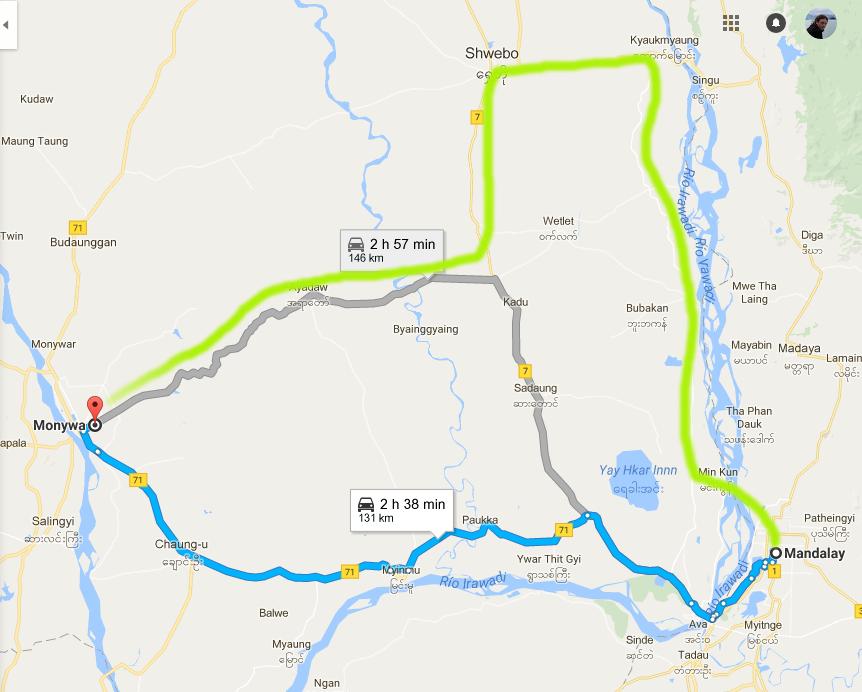 Ruta de Mandalay a Monywa y alrededores