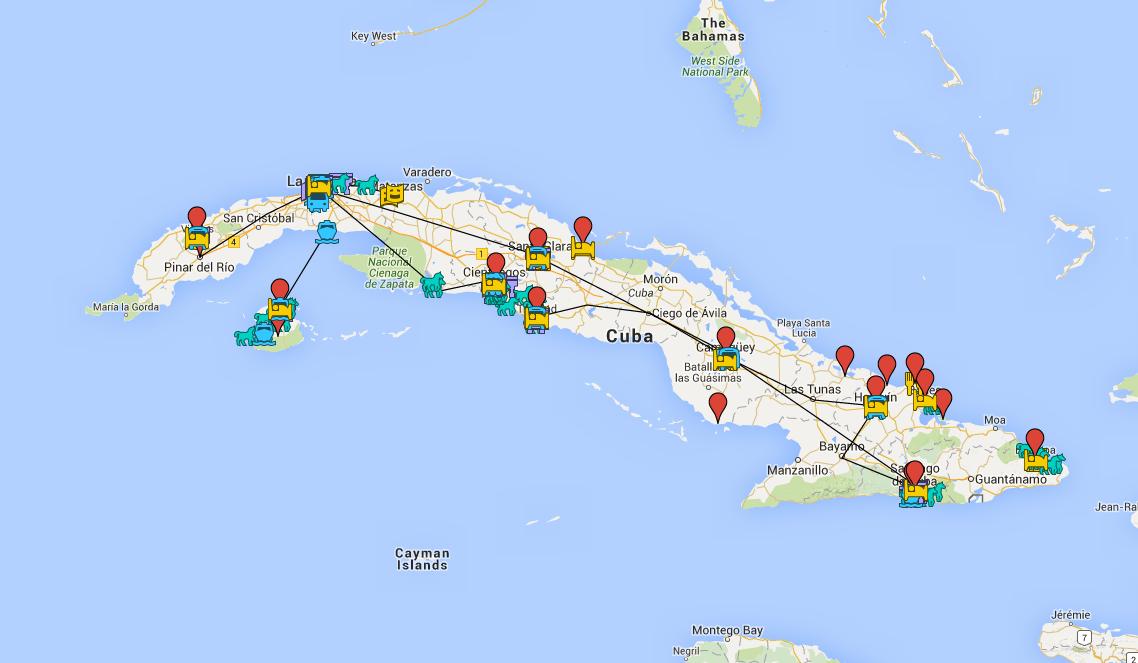 Mapa con puntos de interés en Cuba