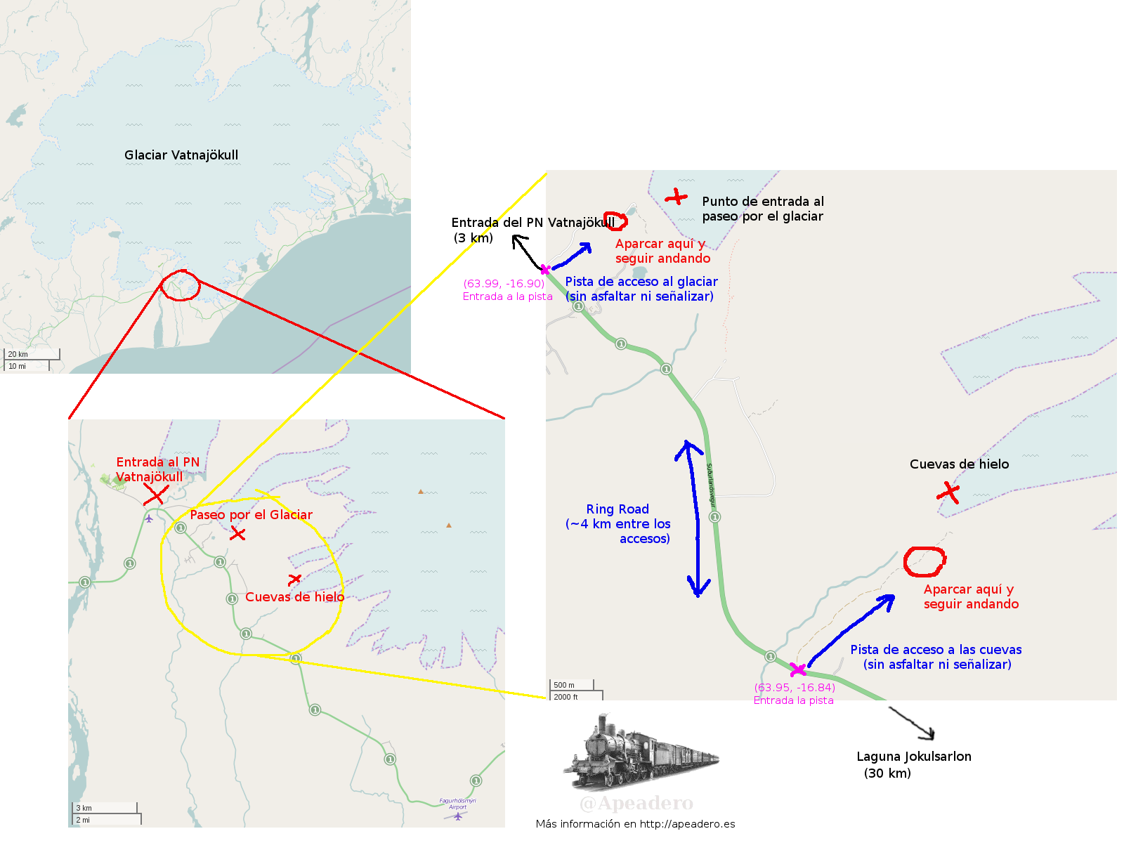 El mapa para encontrar las cuevas de hielo y el lugar dónde iniciar las caminatas en Islandia