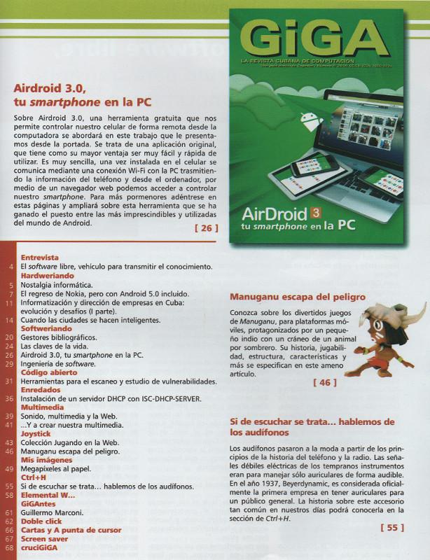 Indice de contenidos de la revista Giga de actualidad informática.