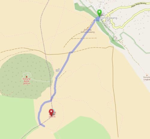 Mapa más alejado de la senda para acceder al Bromo.