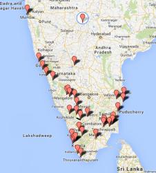 Estos son los puntos que tenemos marcados sobre el mapa en la zona sur.