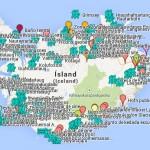 Islandia mapa con puntos de interés entorno a la Ring Road